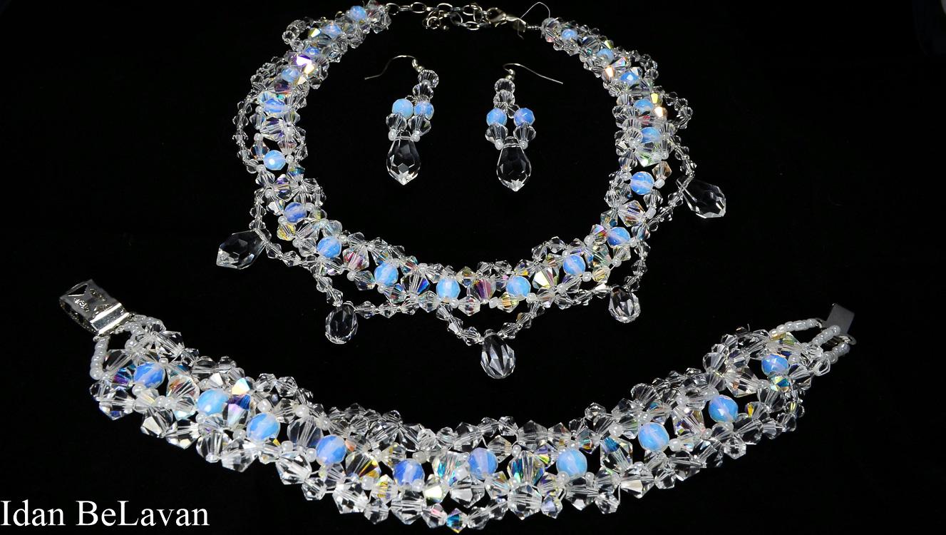 סט תכשיטים לכלות - פנינים לבנות ואבנים כחולות -סלון כלות עידן בלבן בראשון לציון
